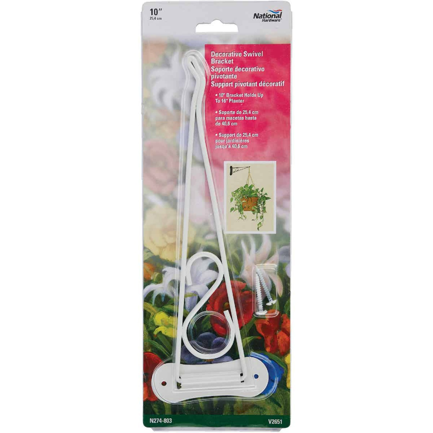 National 10 In. White Steel Decorative Swivel Hanging Plant Bracket Image 2